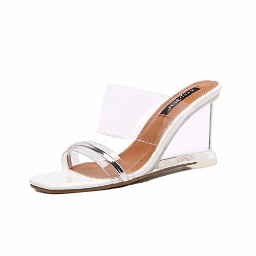 YUCH Las Damas Zapatillas Transparentes Pendiente Y Sandalias Para Boda Fiesta Verano White