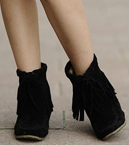 Easemax Women's Comfy Fringe Pull On Faux Suede Mid Wedge Heels Inside Round Toe Ankle High Boots Black kI6Aum