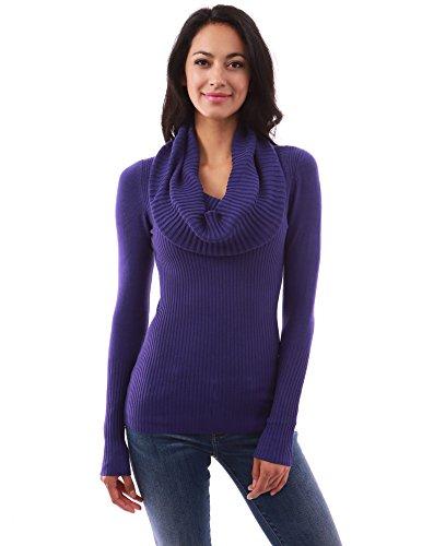 Indigo Ribbed Sweater (PattyBoutik Women's Cowl Neck Ribbed Sweater (Dark Indigo L))