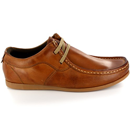 Mens Ikon River Original Wallabee Loafers Lace Up Slim Lederen Schoenen Tan