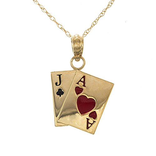 14k Gold Jack - 14k Yellow Gold Sport Charm, Jack Of Clubs & Ace Of Hearts Cards, Black & Red Enamel, with 18 Inch Chain