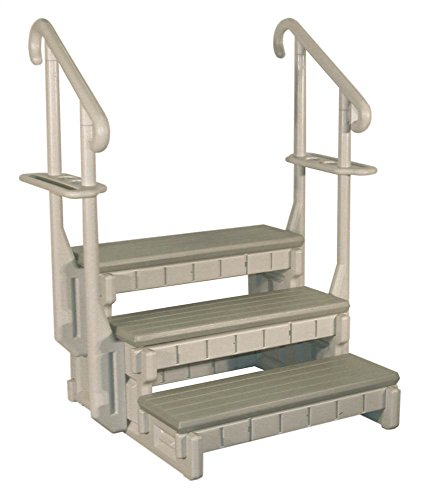 Confer Plastics 3-Tread Spa Step in Gray with Redwood Steps