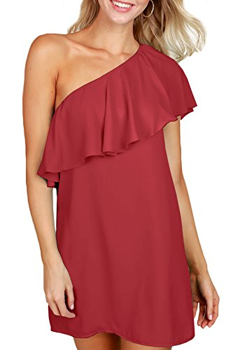 Women Sexy Mini Ruffle Party Fashion Summer One Shoulder Sleeveless Dresses Maroon M - One Shoulder Dress