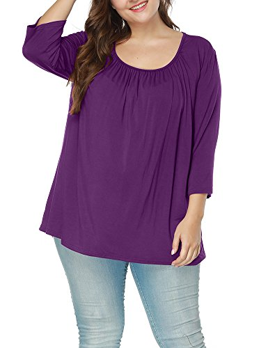 Allegrace Women's Autumn Square Collar 3/4 Sleeve Ruched Blouses Loose Tee Top Purple 4X -