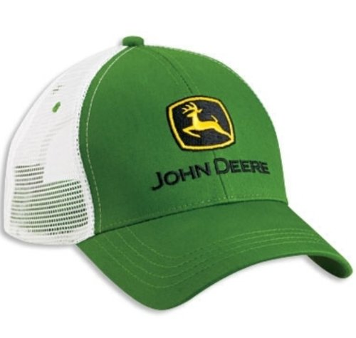 John Deere Green White Mesh Trucker Curved Bill Hat Cap Adjustable Logo Farming