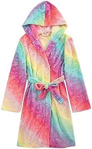 Slumber Party Kids Girls Rainbow Fleece Robe Housecoat Bathrobe for Tween Girls 6-13yrs+