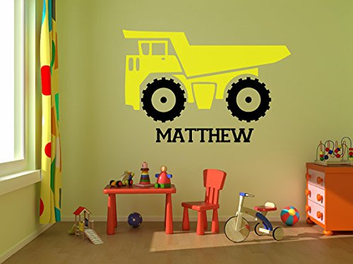 Personalized Boys Custom Name Dump Truck Monogram Wall Decal Sticker - Dump Truck Wall
