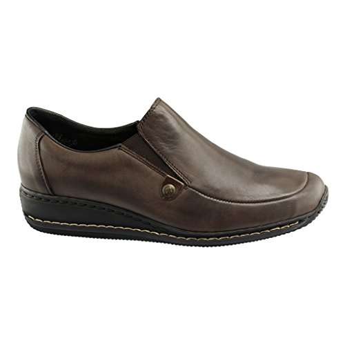 Rieker Damen Mokassins, Slipper teak, 941598-2, Gr 37