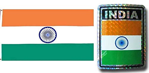 - ALBATROS Set India Country 3 ft x 5 ft 3x5 Flag and 3ftx4ft Decal for Home and Parades, Official Party, All Weather Indoors Outdoors