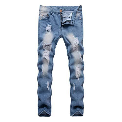 Pantalones Battercake Azul Rasgados Elásticos Media Moda Mezclilla La Los Cintura Vaqueros Rectos Hombres Agujeros De Ajustados Cómodo dCraC