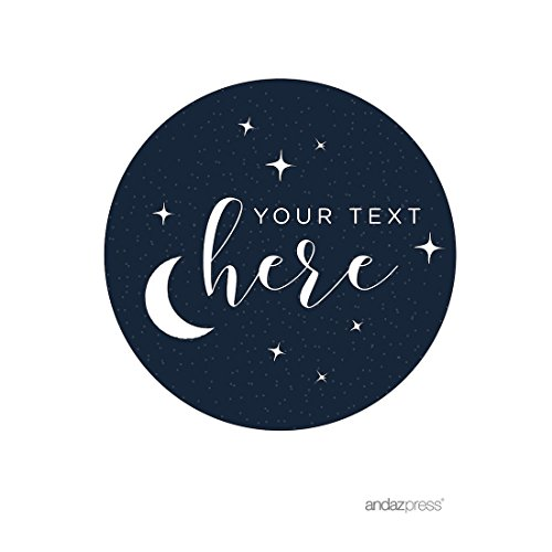- Andaz Press Love You to the Moon and Back Wedding Collection, Personalized Round Circle Label Stickers, Custom Your Text Here, 40-Pack