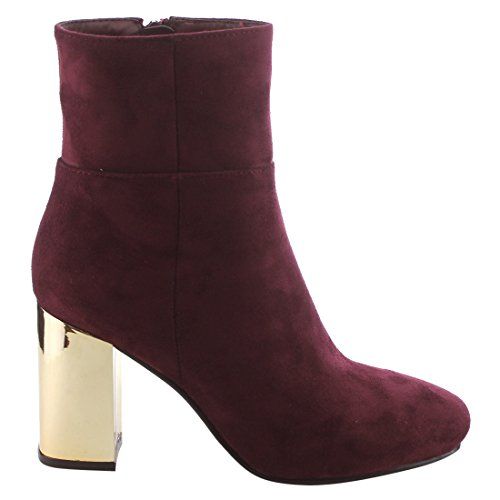 Heel Wine Block Chunky Ankle Top EI77 High Womens Zipper Side BETANI Booties xzq14Pw