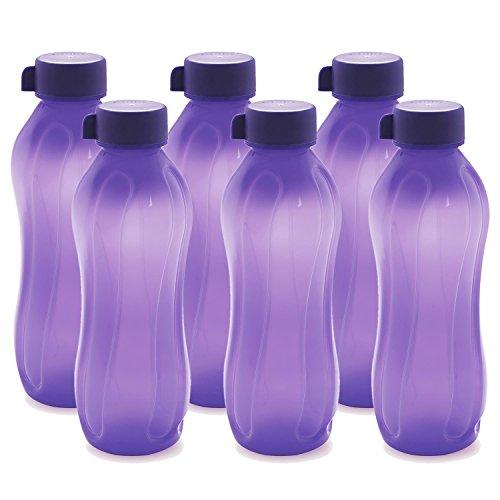 Cello Aqua Kool Polypropylene Bottle Set, 1.1 Litres, Set of 6, Violet