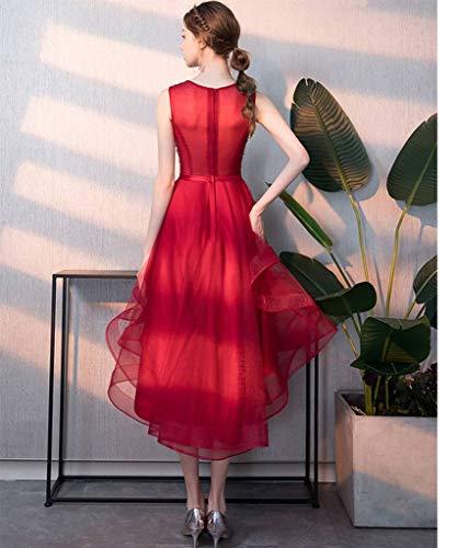 ef3ee2d23dad Da Donna Rosso Qiuqier Vino Abito Manica Cocktail Elegante Corta Sera  Vestiti wSzBqzEgZ