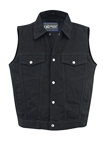 Daniel Smart MEN'S RIDING BLACK DENIM VEST, SNAP FRONT SHIRT COLLAR LIGHTWEIGHT UNBEATABLE $$ (S Regular) by Daniel Smart