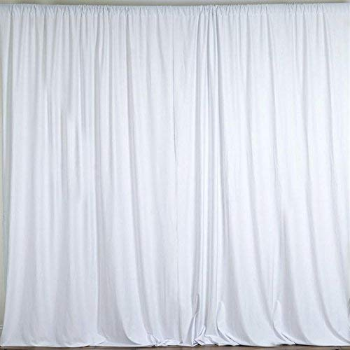 AK TRADING CO. 10 feet x 10 feet Polyester Backdrop Drapes Curtains Panels with Rod Pockets - Wedding Ceremony Party Home Window Decorations - White (Wedding Backdrop Drapes)