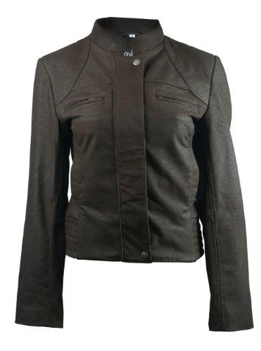FactoryExtreme Madrid Esse Womens Dark Brown Leather Jacket, Medium, Brown