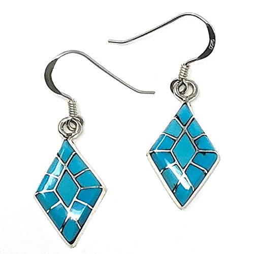 Turquoise Channel Inlay Dangle Earrings by Epaloose | 3/4