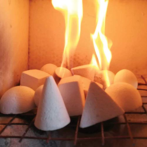 12 Piece Set of Cone Shape Light Weight Ceramic Fiber Pebbles for All Types of Indoor, Gas Inserts, Ventless & Vent Free, Propane, Gel, Ethanol, Electric or Outdoor Stoves, Fireplaces & Fire Pits.