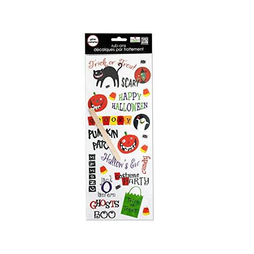 bulk buys Halloween Glitter Rub-On Transfers, Black/White/Yellow/Green/Purple/Orange