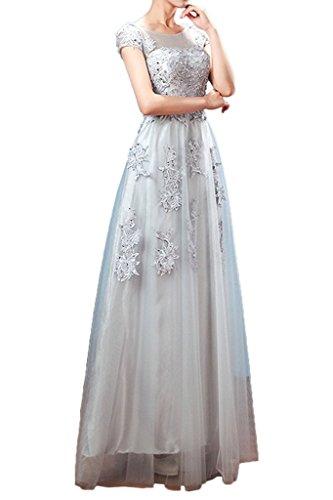 Applikation Kurz Partykleid Ivydressing Beliebt Spitze Damen Silber Tuell Promkleid Aermel Abendkleid qfwtXaOwA