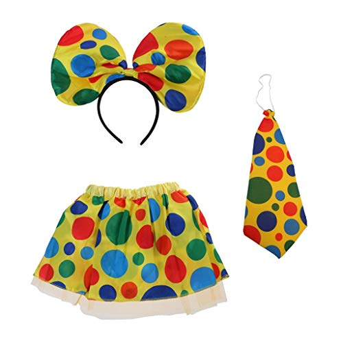 Circus Clown Dress Party Dress Up Clown Skirt Necktie Headband Costume Set Women Girls Fancy Dress Props