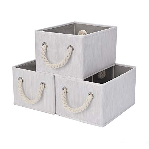 StorageWorks Storage Bins with Cotton Rope Handles, Foldable Storage Basket for Shelves, Mixing of Beige, White & Ivory, 3-Pack, Medium (White Toy Large Wicker Box)