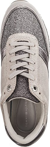 Hilfiger Grey Runner Retro Femmes Baskets Metallic Diamond Tommy TxB7wd6d