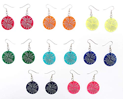Small Hand-painted Acrylic Earrings, Starburst