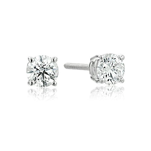 (IGI-Certified 14k White Gold Round-Cut Diamond Stud Earrings (1/2 cttw, H-I Color, I1 Clarity))