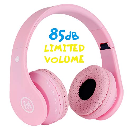 (Mokata Kids Headphone Bluetooth Wireless Over Ear Foldable Stereo Sound Headset with AUX 3.5mm Jack Cord SD Card Slot, Built-in Mic Microphone for Boys Girls Cellphone TV PC Game Equipment B01 Pink)