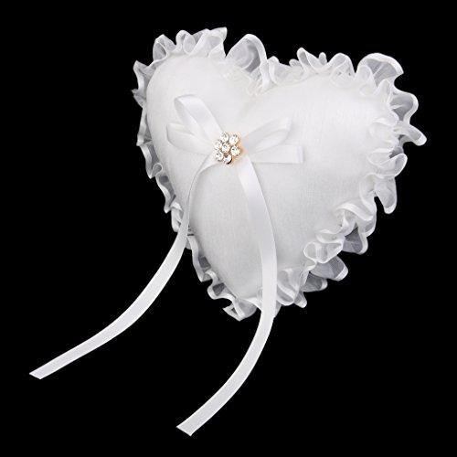 Porteur Anneau de Mariage Coussin Oreiller Forme de Coeur Blanc