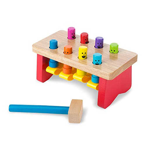 Melissa & Doug Deluxe Pounding Bench Wooden Toy with Mallet (Developmental Toy, Helps Fine Motor Skills, Great Gift for Girls and Boys - Best for 2, 3, and 4 Year Olds)