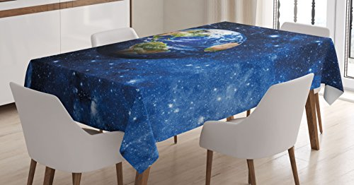 Ambesonne Space Tablecloth, Outer View of Planet Earth in Solar System with Stars Life on Globe Themed Image, Dining Room Kitchen Rectangular Table Cover, 52 X 70 Inches, Blue Green