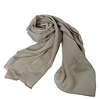 MATCH MUCH Chiffon Scarf Solid Colors Wrap Shawl-26 Colors(Coffee)