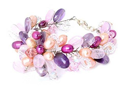 - NOVICA Multi-Gem Dyed Cultured Freshwater Pearl Stainless Beaded Bracelet 'Lavender Romance'