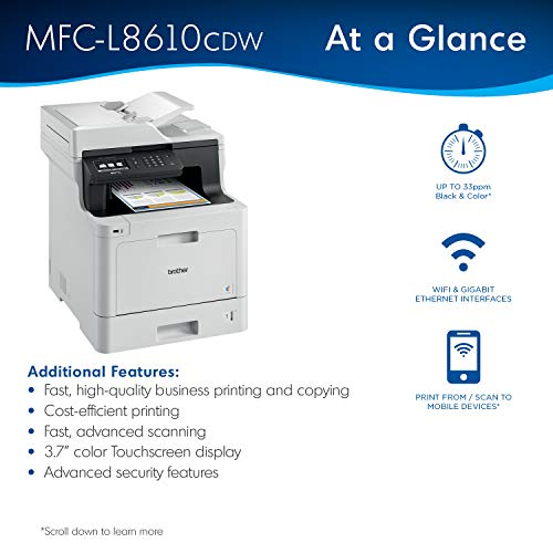 Brother Color Laser Printer, Multifunction Printer, All-in-One Printer, MFC-L8610CDW, Wireless Networking, Automatic Duplex Printing, Mobile Printing and Scanning, Amazon Dash Replenishment Enabled