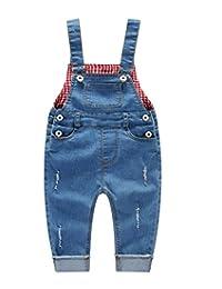 Kidscool Baby & Little Boys/girls Ripped Bib Light Blue Jeans Overall