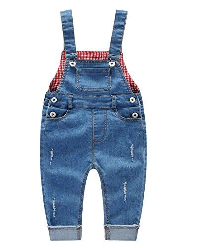 Kidscool Baby & Little Boys/Girls Ripped Bib Light Blue Jeans Overall -