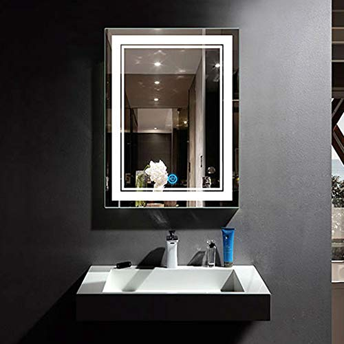 DECORAPORT 24x32 in LED Lighted Bathroom Mirror with Touch Button, Modern Touch - Rectangle Decoraport Bathroom Mirrors Vertical Led