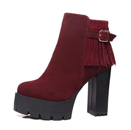 LINYI Frauen High Heels Knöchel Mode Fransen Stiefel Seitlichem Reißverschluss Runde Wasserdichte Plattform Bequem Lässig Red