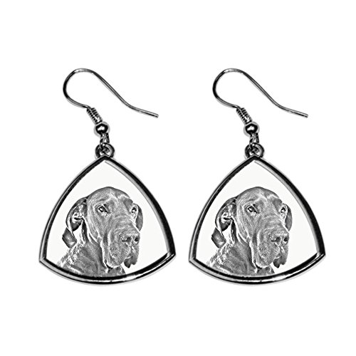 - Great Dane, collection of earrings with images of purebred dogs, unique gift