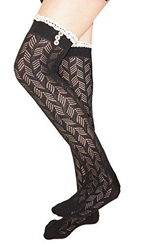 señoras encima de la rodilla calcetines algodón croché pointelle medias con encaje de algodón y botones Negro con encaje en color crudo