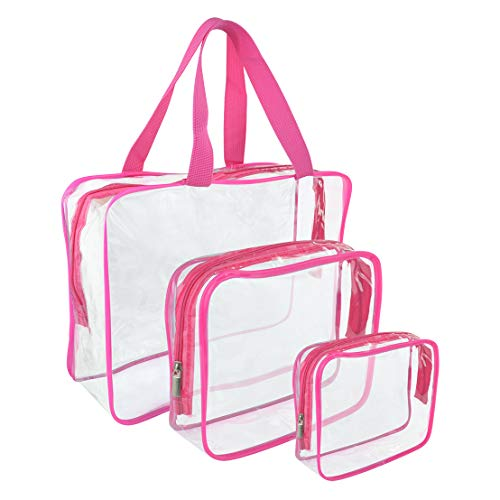 Wobe 3 Pcs Portable Clear Makeup Bag Zipper Waterproof Cosmetics Bag Transparent Travel Storage Carry Pouch PVC Zippered Toiletry Bag Organizers for Vacation Travel, Bathroom (Style C(1L+1M+1S)) ()