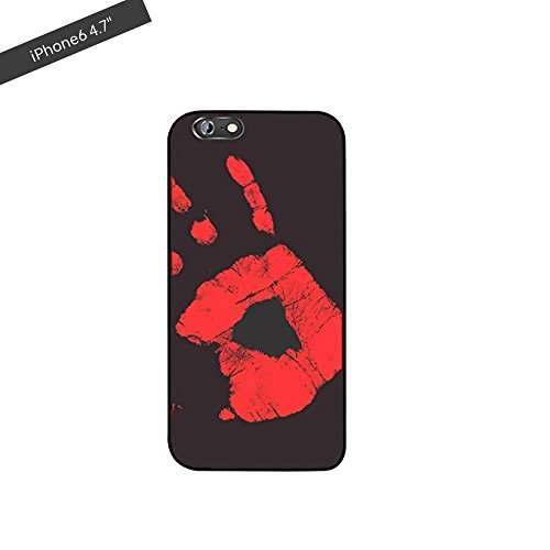 CLKjdz iPhone Matte PC Thermal Sensor Case Color Changing Fluorescent Thermal Heat Induction Phone Back Cover for iPhone 6/6s (Black)