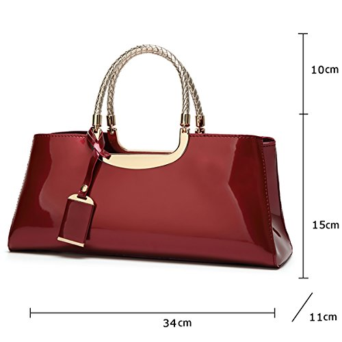 2018 wine Bright Woman Sdinaz Leather Leisure Bag Wallet Shoulder Fashion Red Handbag Messenger New Retro Patent RZqF4x