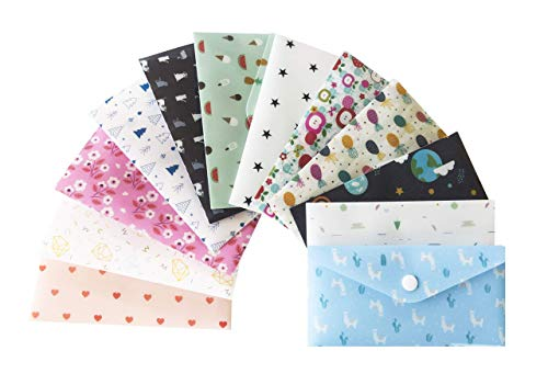 Envelope System Budget - With You Cash Budget Envelopes for Budgeting Cute | 12 Premium Reusable Plastic Cash Envelope System with Snap Button Plus 12 Coin Envelopes and 12 Budget Sheets