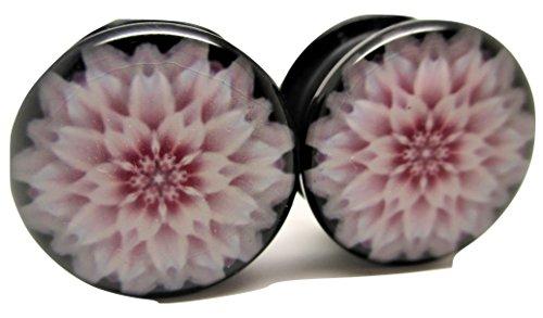 Pierced Republic Pink Flower Ear Plugs - Acrylic - Screw on - NEWPair - 8 Sizes (2 Gauge (6mm))