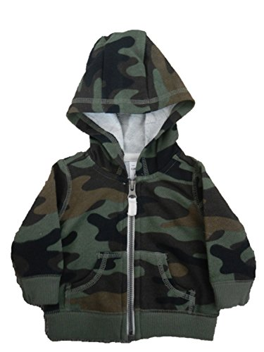 Carter's Boy's Full Front Zip Green Camo French Terry Hoodie (Newborn)