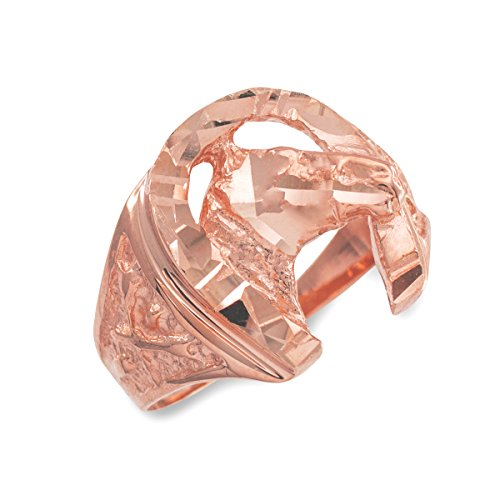 Cougar Head Charm (Dainty 14k Rose Gold Polished Nugget Band Good Luck Horsehoe with Horse Head Ring (Size 16))